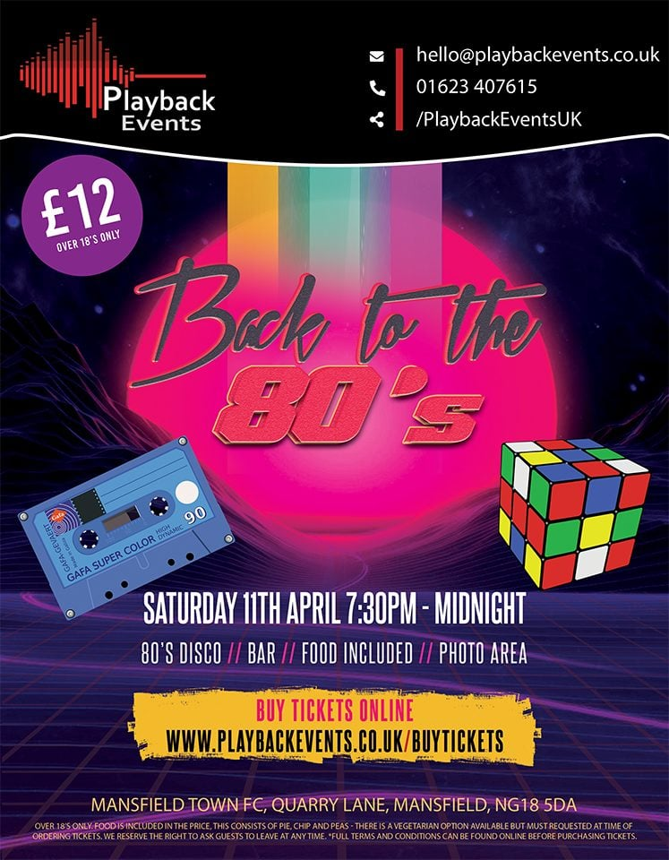 Back to the 80's night event Poster